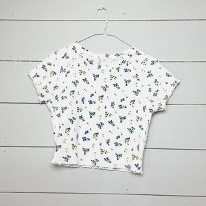 """PACSUN Cropped Floral """"Baby Tee"""""""